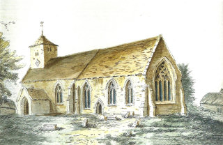 Clungunford Church watercolour S side